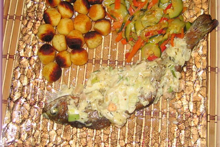 Truite saumonée et sa fondue de poireaux