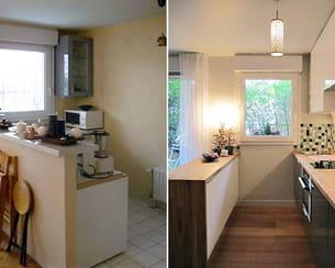 la configuration de la cuisine avant/après