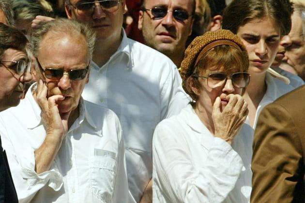 Les parents de Marie Trintignant lors de l'enterrement de leur fille