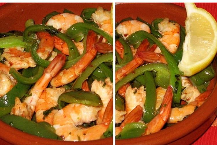 Crevettes à l'ail et au poivron