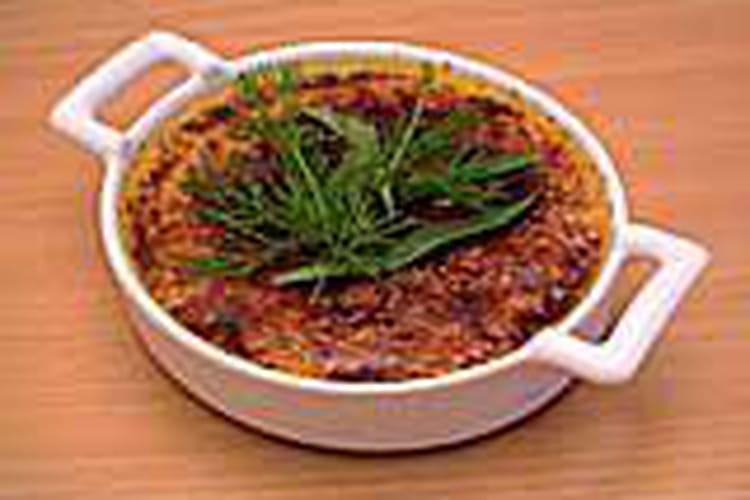 Crème brûlée au foie gras et aux herbes