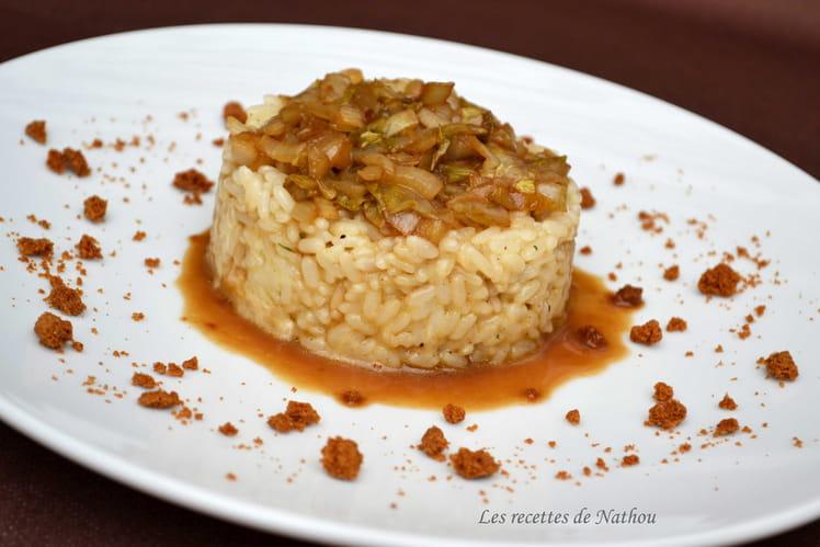 Risotto au fromage de Herve, chicons caramélisés au sirop de Liège et miettes de spéculoos