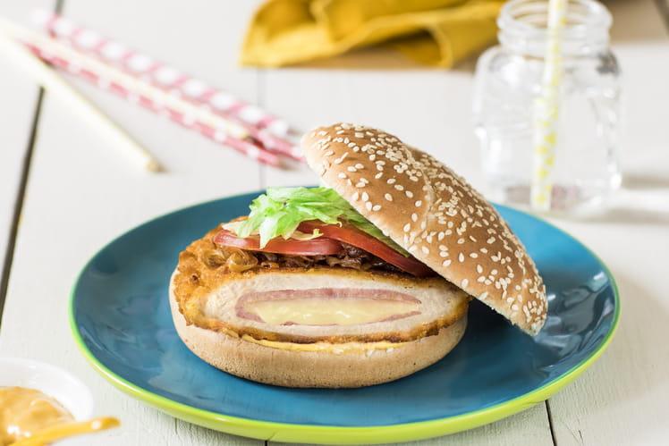 Cheese burger revisité au Cordon Bleu de poulet Père Dodu