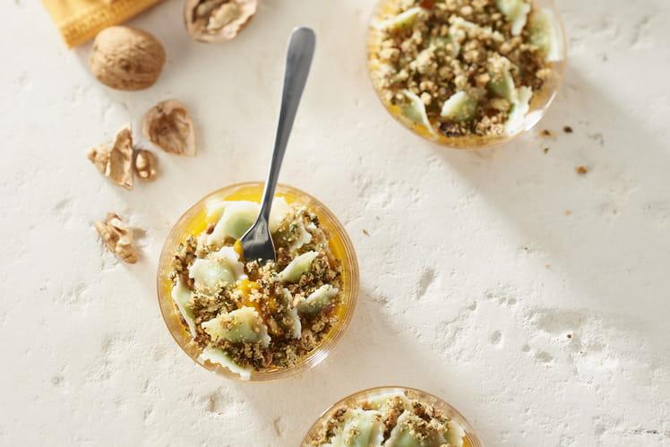 Verrines de ravioles Saint-Jean et courge avec leur pesto de persil
