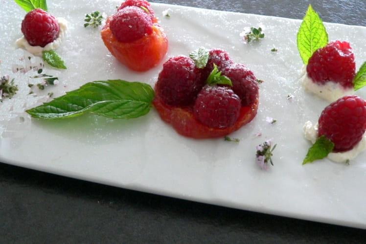 Tomates confites aux framboises