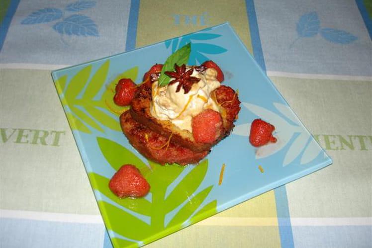 Pain perdu de cake au thé vert, poêlée de fraises à la vanille et badiane