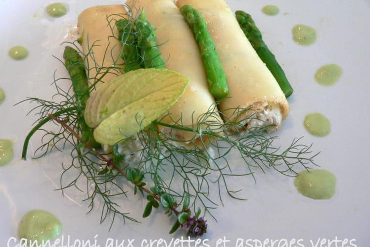 Cannelloni aux crevettes et asperges vertes