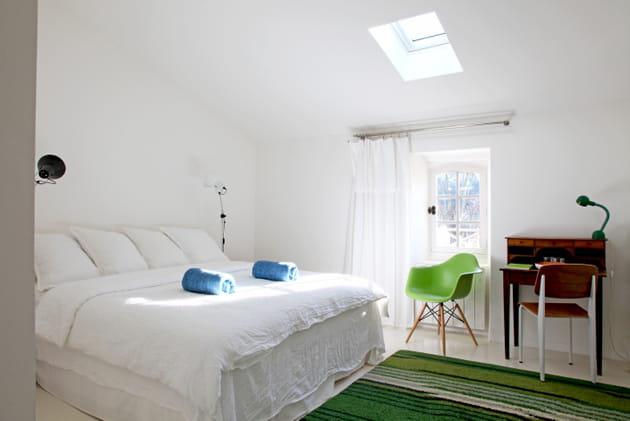 chambre blanche et verte. Black Bedroom Furniture Sets. Home Design Ideas