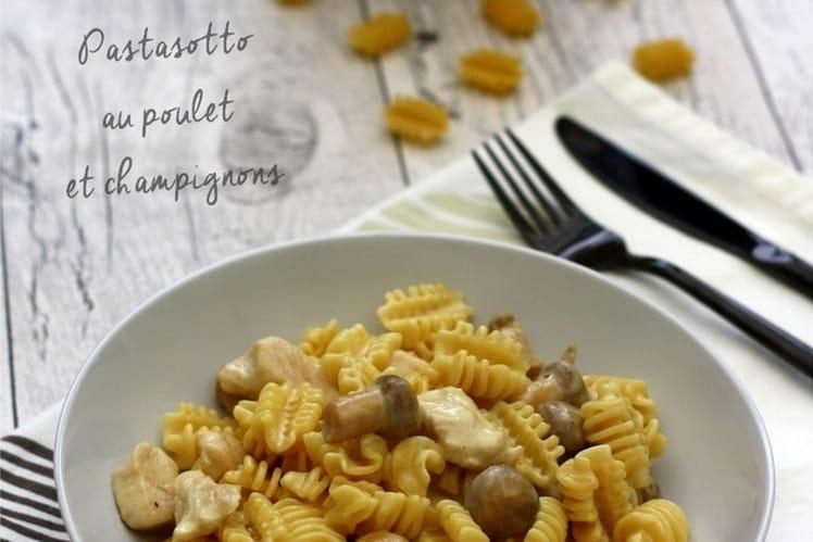 Pâtes aux champignons et poulet façon risotto