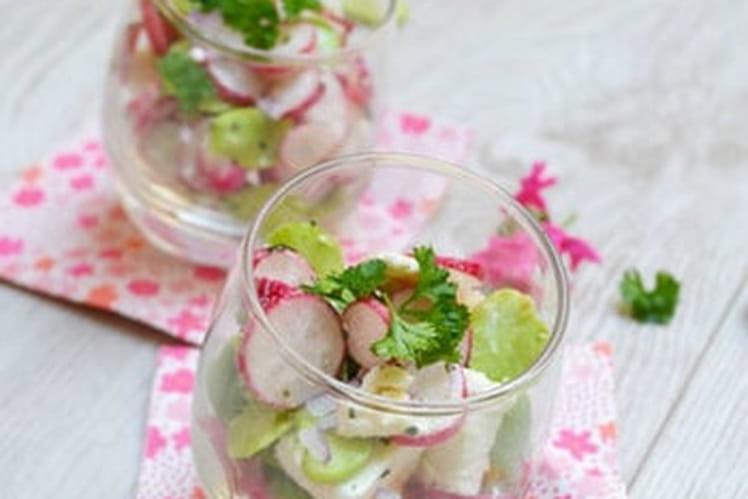 Verrines de fèves, radis et feta