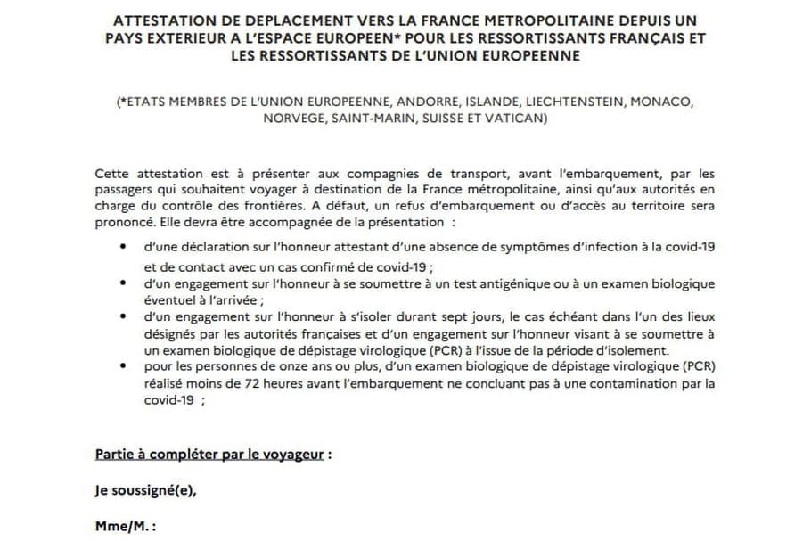 Attestation de Déplacement et Voyage vers et depuis la France