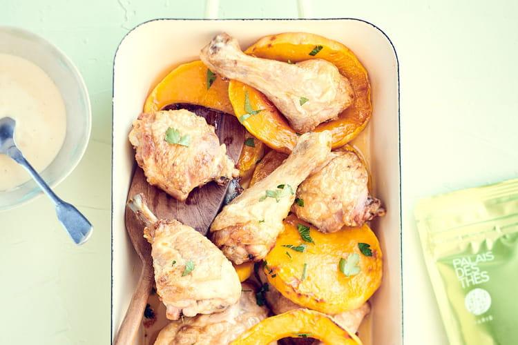 Cuisse de poulet rôtie, courge butternut au miel de romarin et  crème de volaille au Thé Fu Lian Bio Palais des Thés