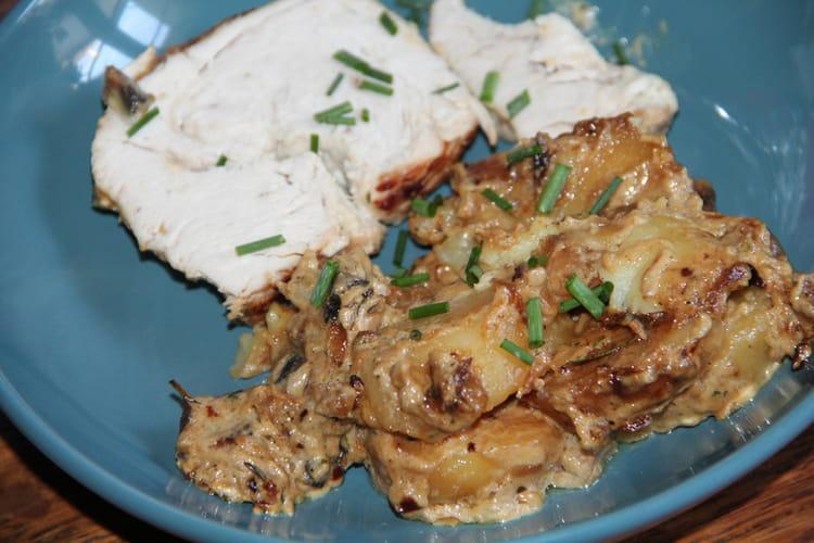 Rôti de dinde et ses petits légumes au fromage frais ail et fines herbes