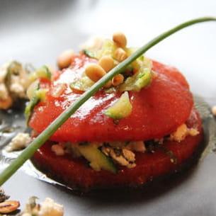 macaron tomate, basilic et fromage frais