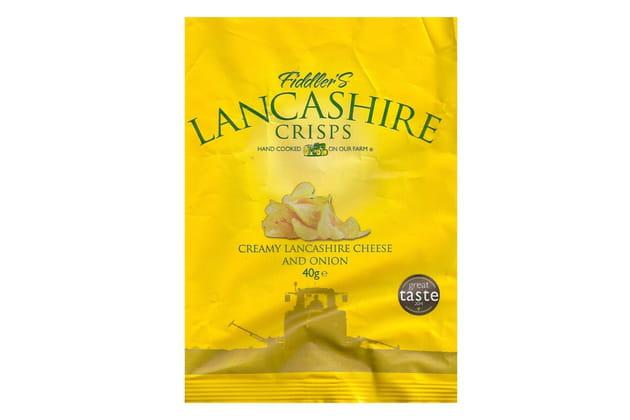 La gamme fabriquée à la ferme de Fiddler's Lancashire Crisps