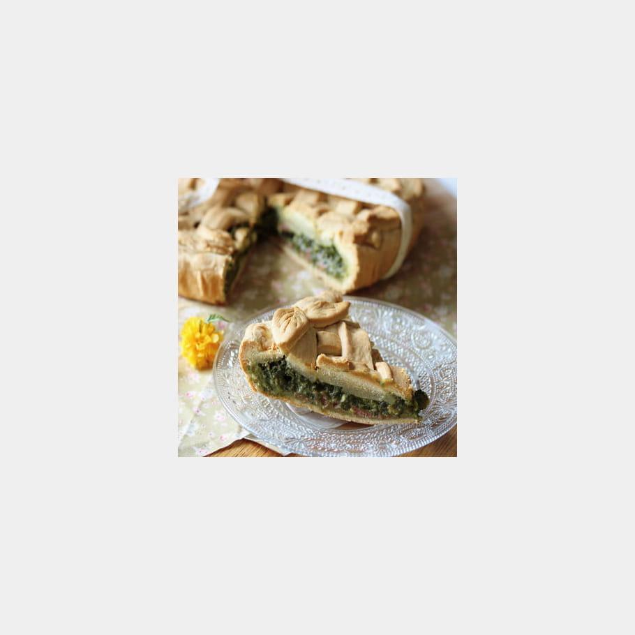 Tarte épinard, brousse de brebis, jambon cru et pignons