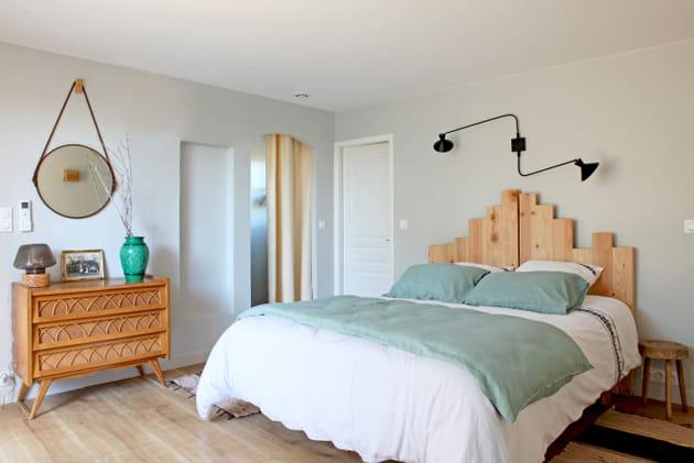 Chambre bois et turquoise