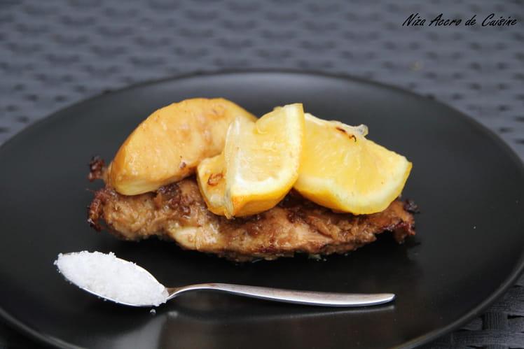 Escalope de poulet au citron et gingembre