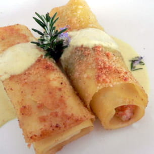 cannellonis au saumon, sauce curry