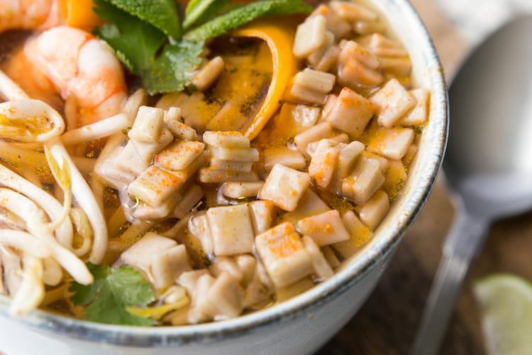 Bouillon asiatique de crozets aux crevettes