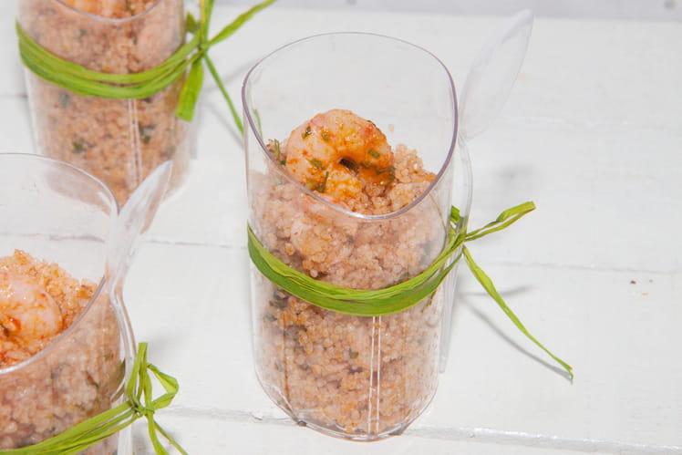 Verrines de couscous d'orge à la charmoula et aux crevettes