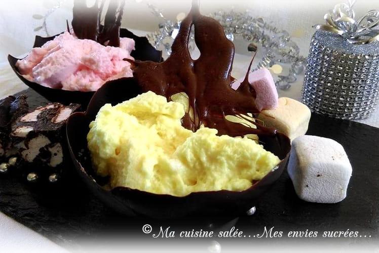 Mousses gourmandes aux chamallows coupelles au chocolat