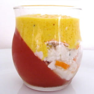 gelée de tomate sous crème de poivrons
