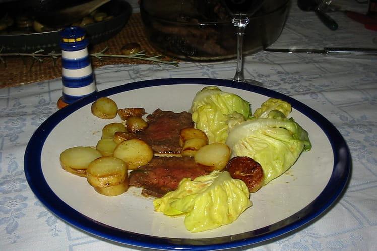 Pièce de boeuf - pommes rattes au romarin