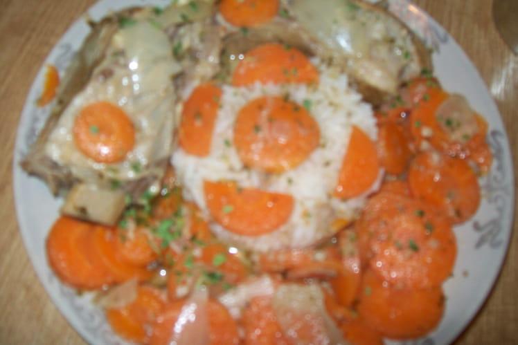 Tendrons de veau, carottes en sauce