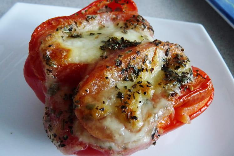 Poivron farci au thon, tomate et mozzarella