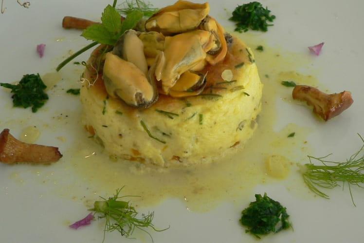Flan aux petits légumes et moules au curry doux