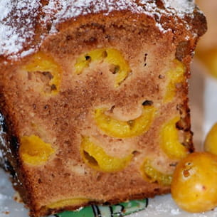 cake aux mirabelles, chocolat & amandes