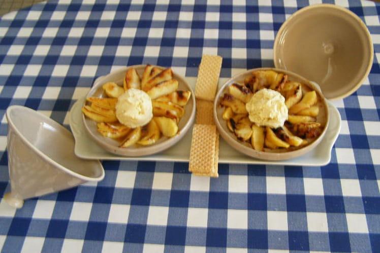 Tajine de pommes avec glace à la vanille
