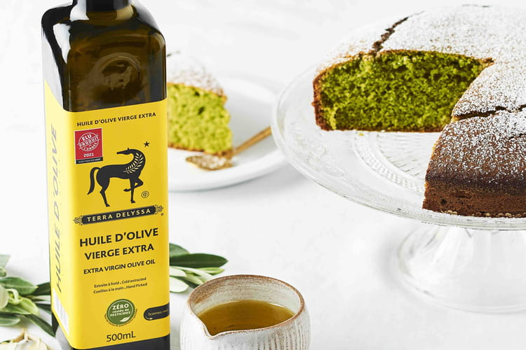 Gâteau huile d'olive et thé matcha