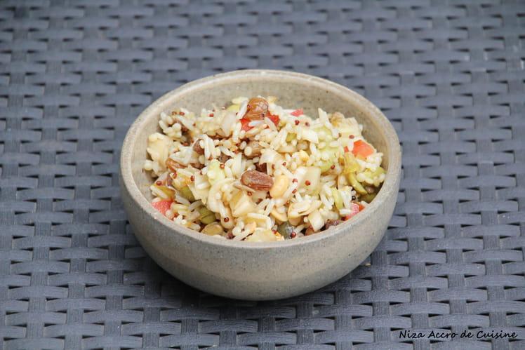 Salade de riz, semoule et quinoa aux légumes
