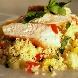taboulé au poulet, concombre et menthe