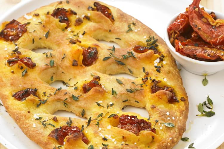 Fougasse aux tomates confites et thym sur sa pâte à pizza au Levain Croustipate