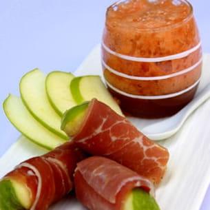 emulsion melon/porto et cannelloni de jambon cru
