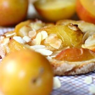 tarte fine sablée aux prunes, amandes et gingembre