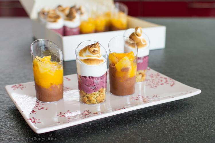 Fruits rouges, meringue, cookie pistache et compoté mangue-poire, mousse au chocolat