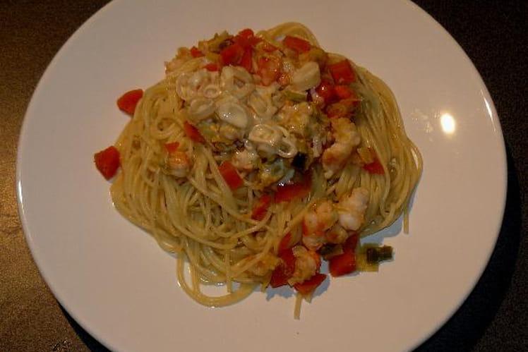 Spaghettis aux scampis sauce à l'orange