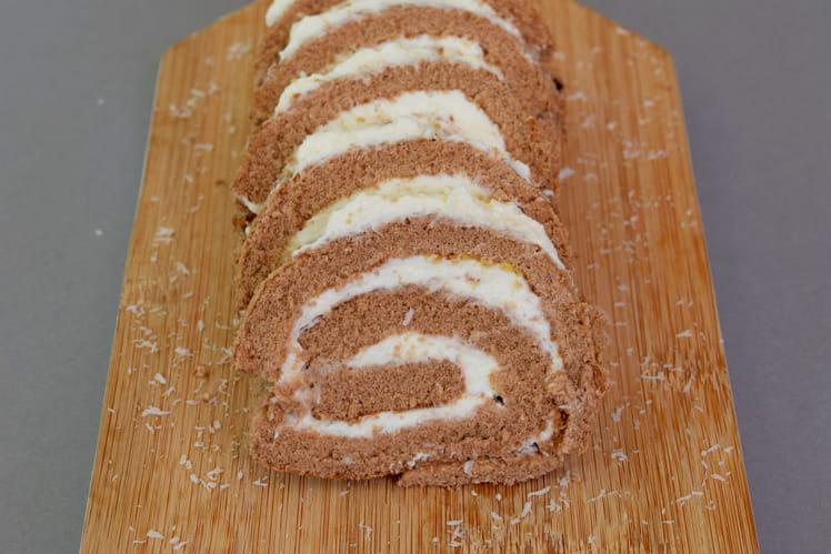 Gâteau roulé au cacao et à la noix de coco {Sans gluten}