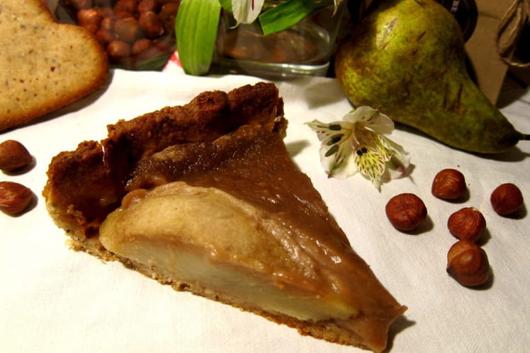Tarte rustique à la crème de marrons et aux poires
