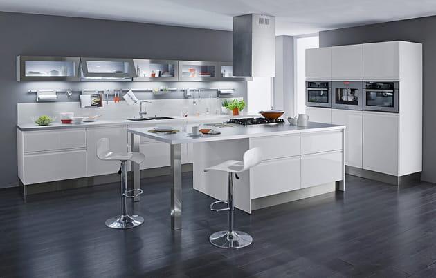L'îlot de cuisine blanc et inox