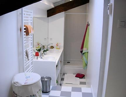 une salle de bains claire et fonctionnelle. Black Bedroom Furniture Sets. Home Design Ideas