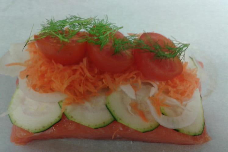 Papillote de saumon aux légumes croquants