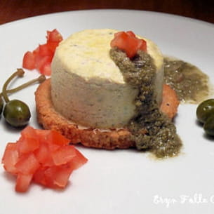 baby cheesecakes aux câprons et coulis vert
