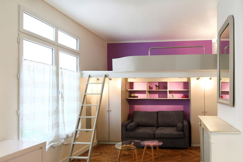 des id es pour cr er un coin nuit dans le studio et le d limiter avec brio. Black Bedroom Furniture Sets. Home Design Ideas