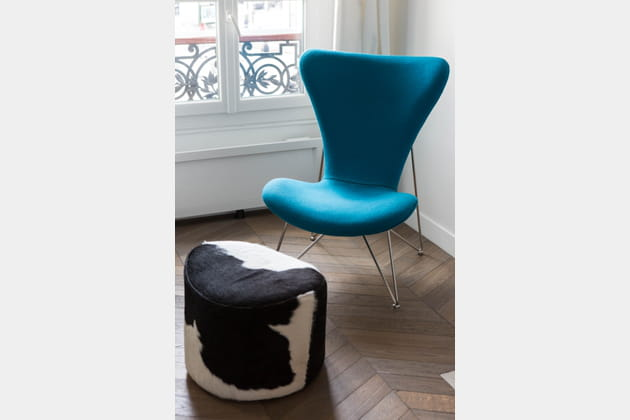 Salon néo-chic bleu paon