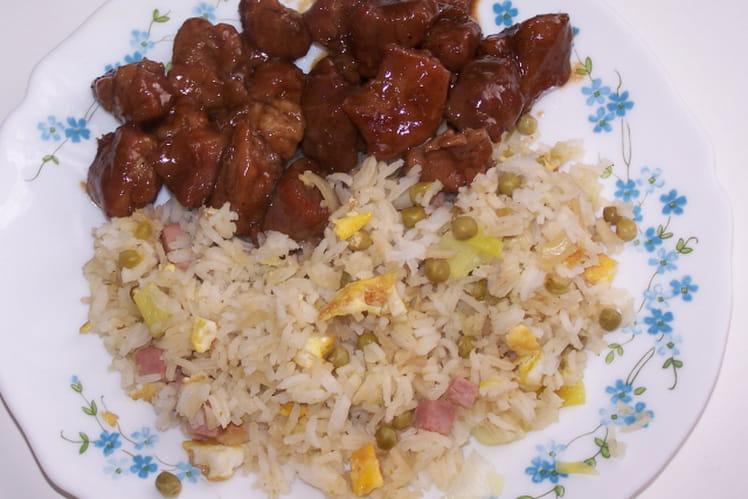 Riz cantonais au poireau, gingembre et sauce soja